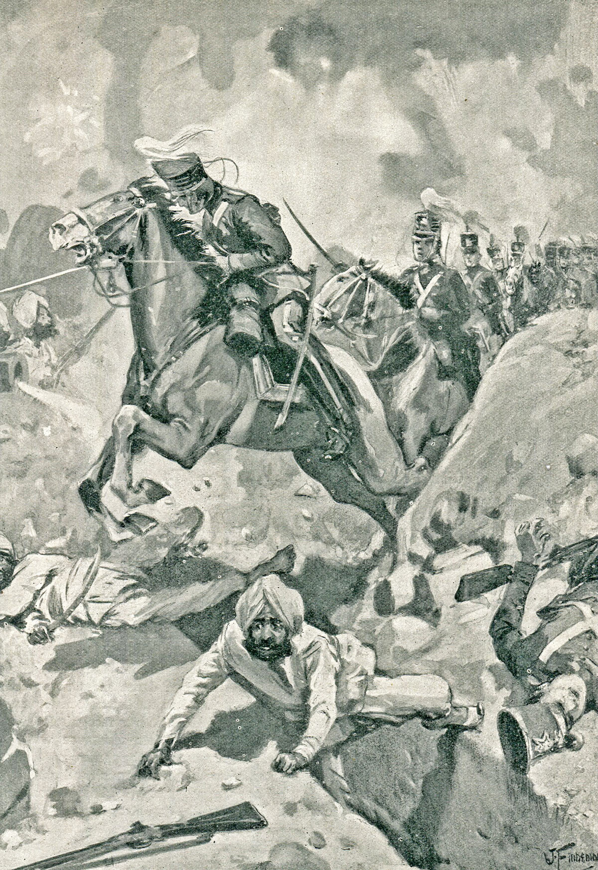 Sir Joseph Thwackwell leads 3rd King's Light Dragoons through the Sikh rampart at the Battle of Sobraon on 10th February 1846 during the First Sikh War