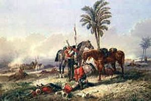 Death of Cornet Bigoe-Williams of HM 16th Lancers at the Battle of Aliwal on 28th January 1846 in the First Sikh War: picture by Orlando Norie