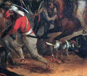 The dog 'Albert' at the Battle of Chillianwallah on 13th January 1849 during the Second Sikh War