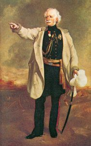 Major General Sir Hugh Gough in his white 'Battle Coat': Battle of Moodkee on 18th December 1845 during the First Sikh War