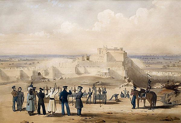 Town of Ghuznee: Battle of Ghuznee on 23rd July 1839 in the First Afghan War: picture by Lieutenant Thomas Wingate