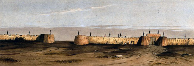 The Jellalabad gate and defences after the earthquake: Siege of Jellalabad from 12th November 1841 to 13th April 1842 during the First Afghan War