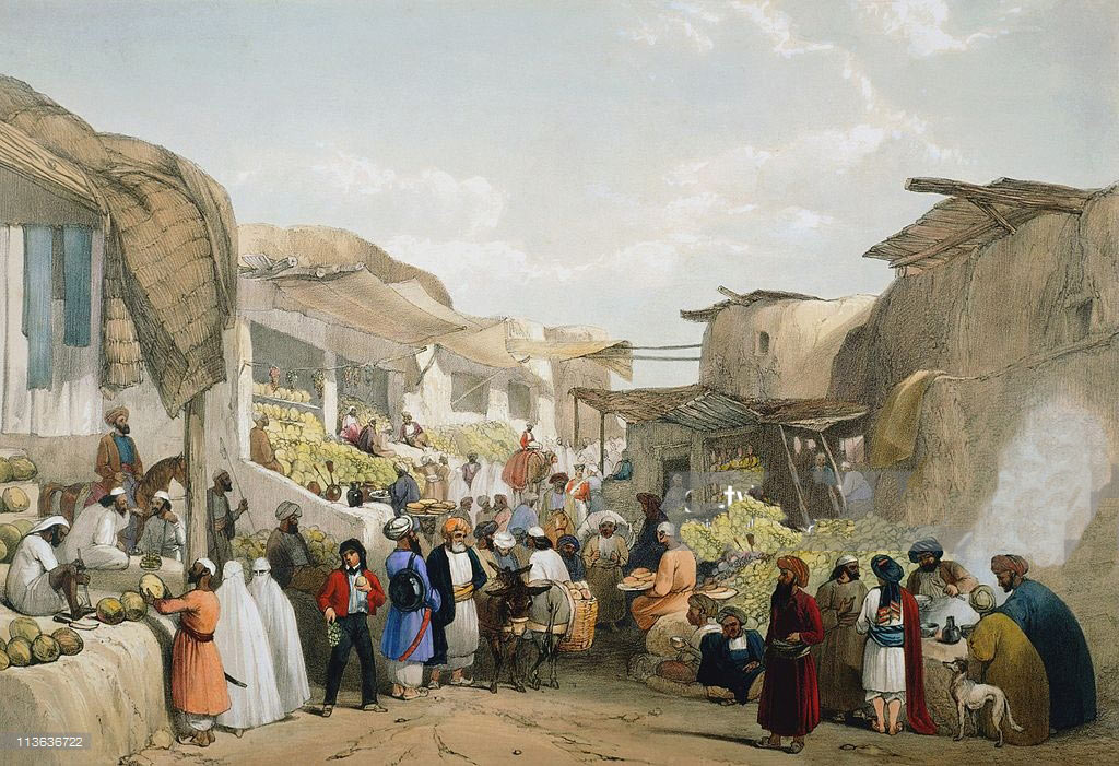 The Bazaar in Kabul: Battle of Kabul 1842 in the First Afghan War: buy a black white version of this picture