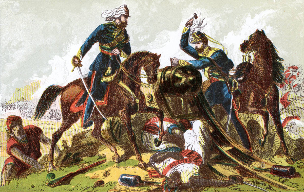 Light Dragoons spiking Sikh guns at the Battle of Aliwal on 28th January 1846 in the First Sikh War