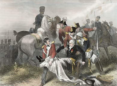 The mortal wounding of Major General Sir Robert Sale at the Battle of Moodkee on 18th December 1845 during the First Sikh War