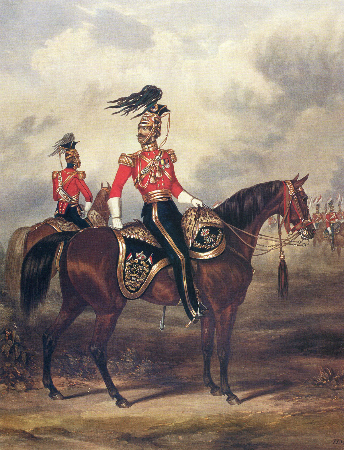 Major John Rowland Smyth, commanding officer of the 16th Lancers at the Battle of Aliwal on 28th January 1846 in the First Sikh War: print by Ackermann