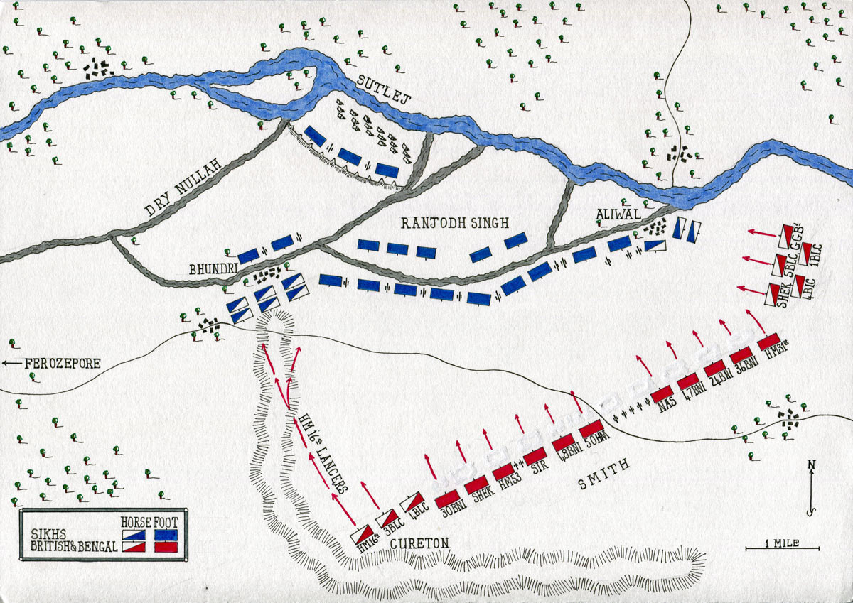 Map of the Battle of Aliwal on 28th January 1846 in the First Sikh War: map by John Fawkes