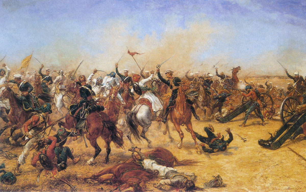 Charge of the 3rd King's Own Light Dragoons at the Battle of Moodkee on 18th December 1845 during the First Sikh War: picture by Ernest Crofts