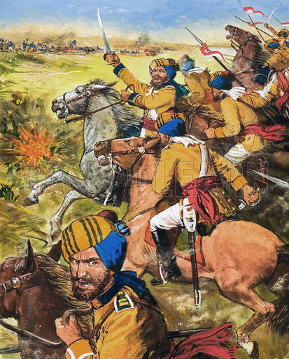 Skinner's Horse at the Battle of Moodkee on 18th December 1845 during the First Sikh War: picture by Cecil Doughty