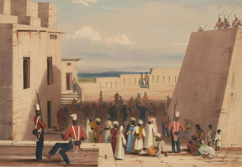 Afghan prisoners guarded by 19th Bengal Native Infantry after the Battle of Ghuznee on 23rd July 1839 in the First Afghan War