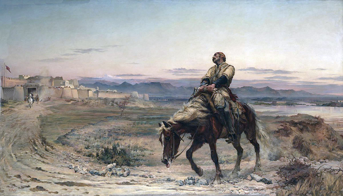 'Remnants of an Army': Dr Brydon arriving at Jellalabad on 13th January 1842, last survivor of the Anglo-Indian Army in the retreat from Kabul: Siege of Jellalabad from 12th November 1841 to 13th April 1842 during the First Afghan War: picture by Lady Butler: buy this picture