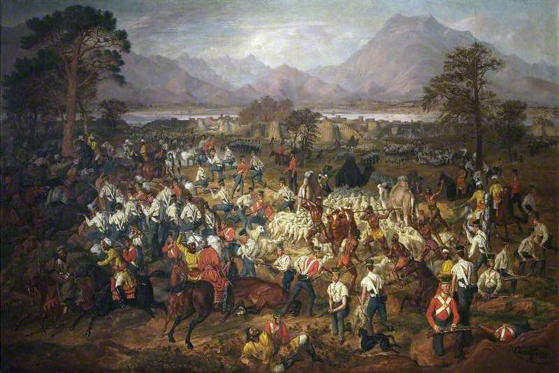 HM 13th Regiment and Skinner's Horse capturing the flock of sheep: Siege of Jellalabad from 12th November 1841 to 13th April 1842 during the First Afghan War: picture by Daniel Cunliffe