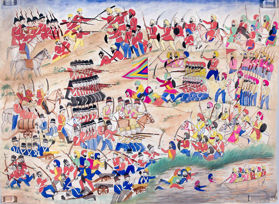 Sikh illustration of the Battle of Sobraon on 10th February 1846 during the First Sikh War