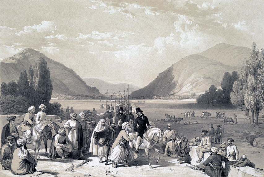 Surrender of Dost Mohammed to Sir William Macnaughten: Battle of Kabul and Retreat to Gandamak 1842 during the First Afghan War: click here to buy this picture in colour