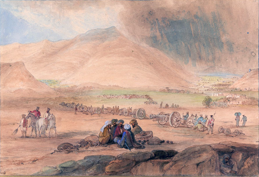 Dost Mohammed's abandoned guns: Battle of Kabul and Retreat to Gandamak 1842 during the First Afghan War: contemporary picture by James Atkinson