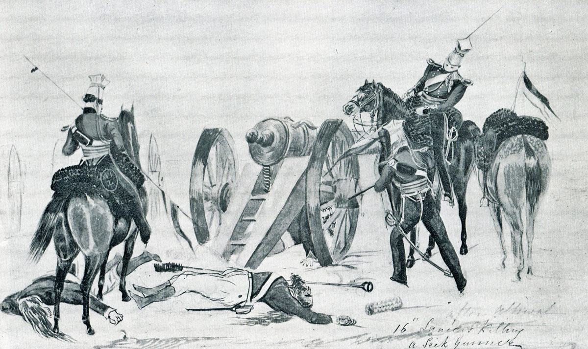 16th Lancers killing Sikh gunners at the Battle of Aliwal on 28th January 1846 in the First Sikh War