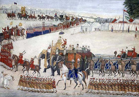 Military procession with a regiment of British Light Dragoons and British and Indian infantry: Battle of Ferozeshah on 22nd December 1845 during the First Sikh War