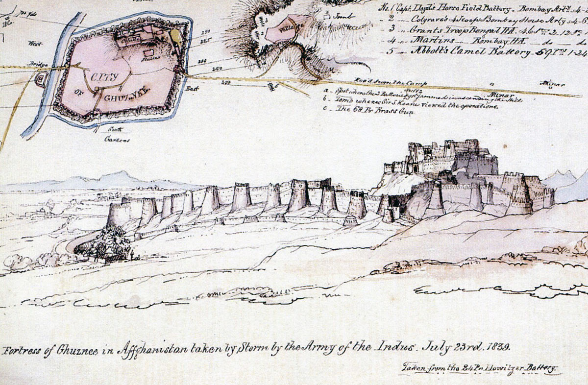Plan of Ghuznee by Lieutenant Thomas Gaisford Bombay Artillery: Battle of Ghuznee on 23rd July 1839 in the First Afghan War