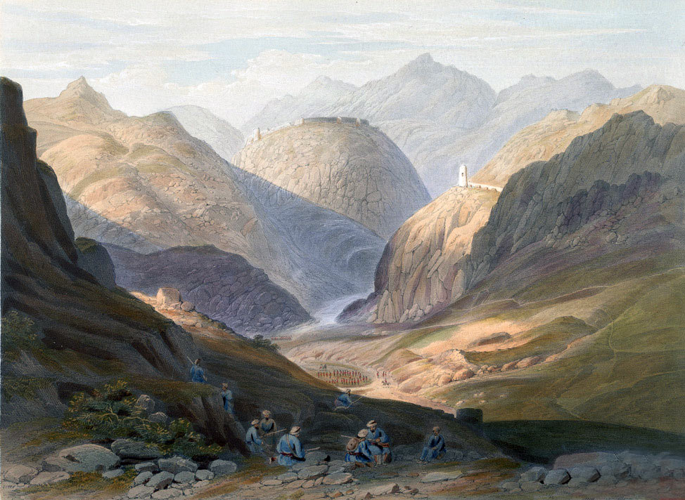 Army of the Indus marching into Afghanistan: Battle of Ghuznee on 23rd July 1839 in the First Afghan War: picture by Lieutenant Rattray