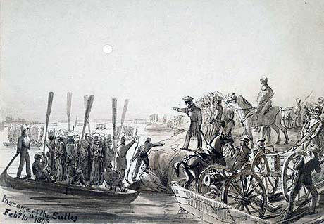 Crossing the Sutlej River: Battle of Sobraon on 10th February 1846 during the First Sikh War