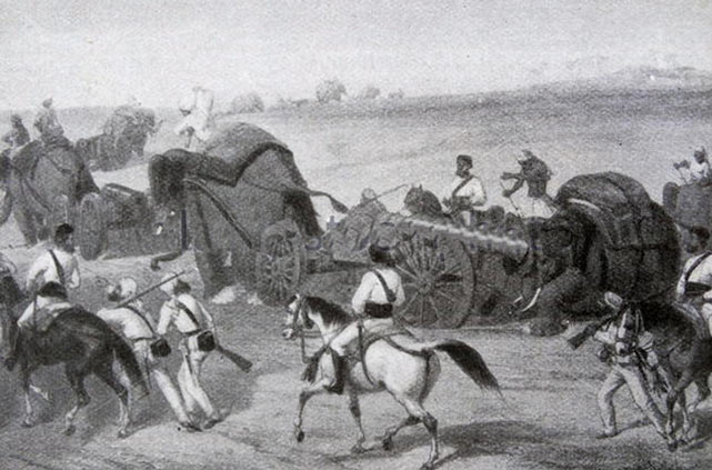 The British/Bengali Army on the march: Battle of Ferozeshah on 22nd December 1845 during the First Sikh War