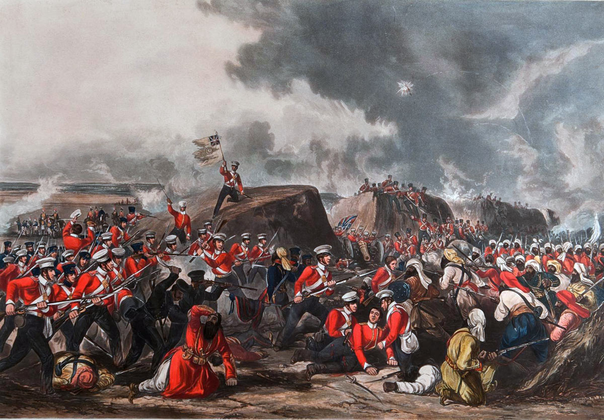 HM 31st Regiment at the Battle of Sobraon on 10th February 1846 during the First Sikh War: Sergeant McCabe is holding the Regimental Colour on the Sikh rampart