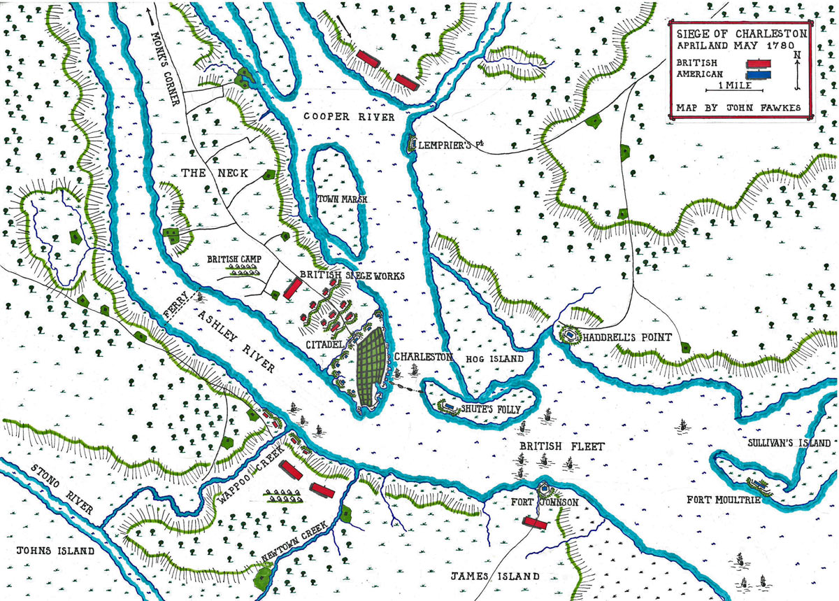 Map of the Siege of Charleston April and May 1780 in the American Revolutionary War: map by John Fawkes