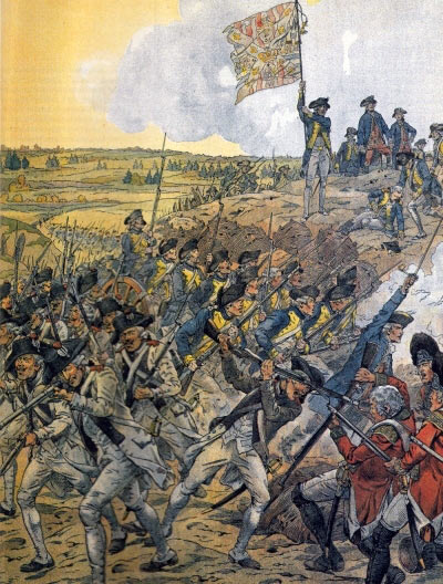 American and French troops attacking Spring Hill Redoubt: Battle of Savannah on 9th October 1779 in the American Revolutionary War