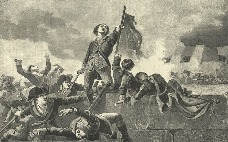 Sergeant Jasper on the parapet of the Spring Hill Redoubt during the attack on Savannah on 9th October 1779 during the American Revolutionary War