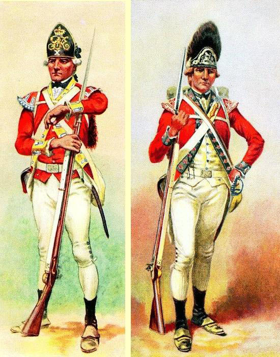 British Light Infantryman and Grenadier: Siege of Charleston April and May 1780 in the American Revolutionary War: picture by Charles M. Lefferts