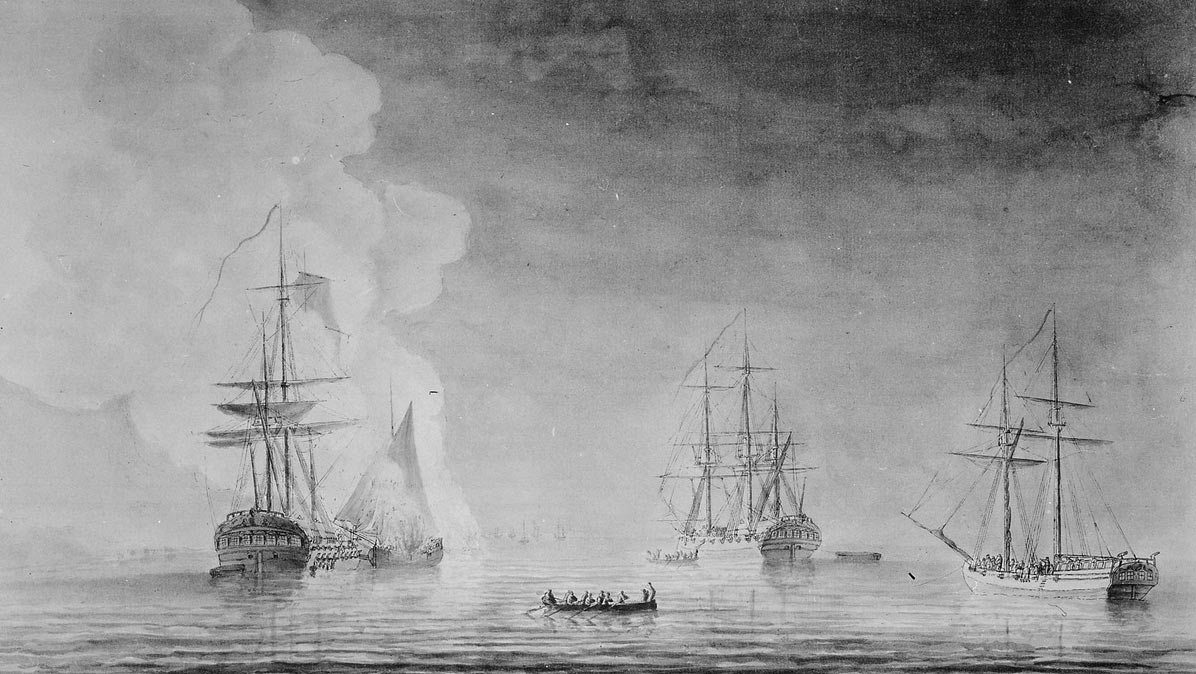 British ships HMS Phoenix and Rose with galleys: Siege of Savannah, September and October 1779 during the American Revolutionary War