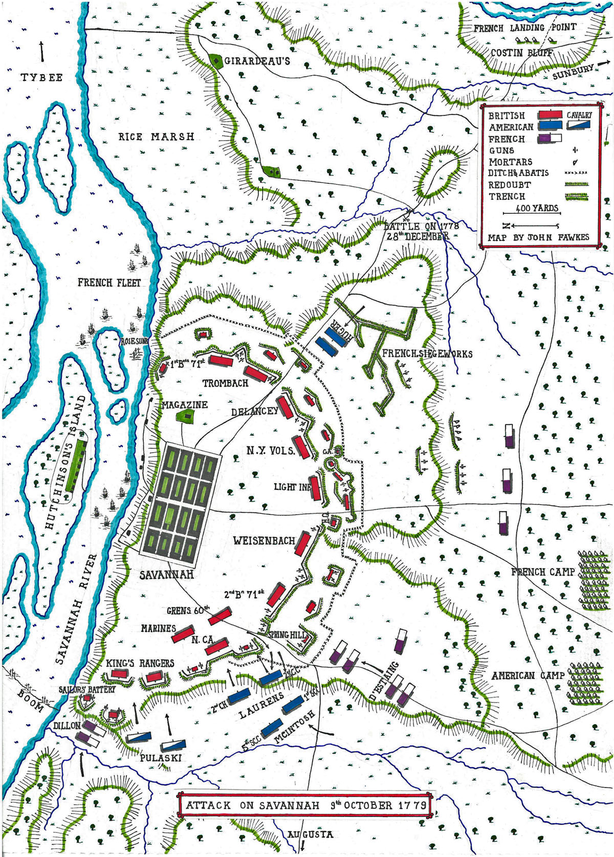 Map of the Siege of Savannah and the Attack on 9th October 1779 in the American Revolutionary War: map by John Fawkes