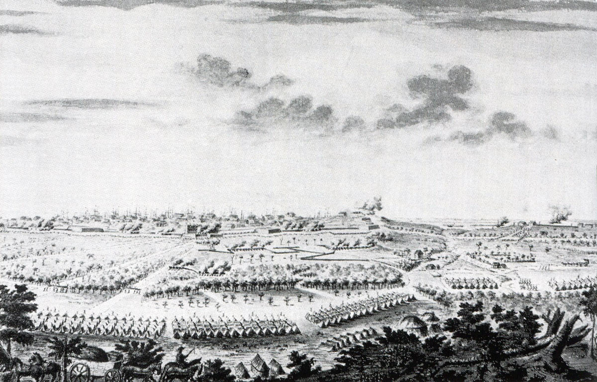 View of the siege works against the town at the Siege of Savannah September and October 1779 in the American Revolutionary War: contemporary picture by a French officer