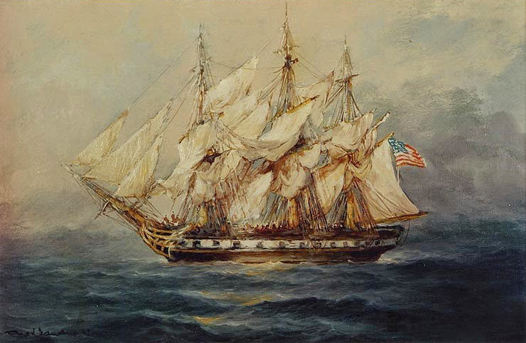 American Continental Frigate Boston: Siege of Charleston April and May 1780 in the American Revolutionary War: picture by Rod Claudius