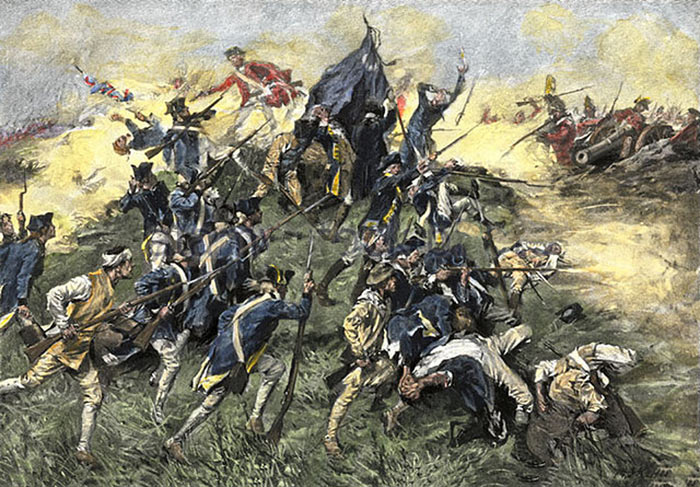 Attack of 2nd South Carolina Continentals on the Spring Hill Redoubt at the Siege of Savannah on 9th October 1779 in the American Revolutionary War: picture by A.I. Keller