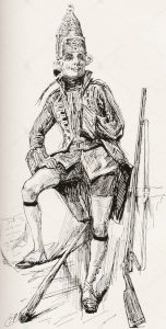 Dickens' character Joe Willet from Barnaby Rudge: illustration by Harry Furniss