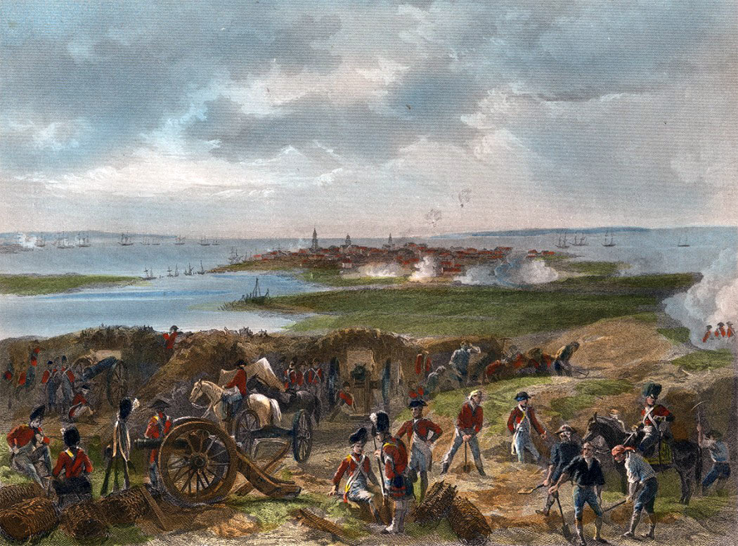 British siege works on the Neck during the siege of Charleston April and May 1780 in the American Revolutionary War: Charleston lies in the distance; the American defensive line on the Neck is marked by the gun shots: the American ships lie in the mouth of the Cooper River in the middle left with the British ships in the background and in the entrance to the Ashley River on the right.