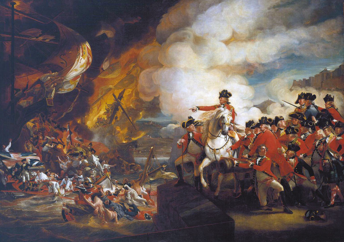 General Eliott watches the destruction of the Spanish Battering Ships on 13th September 1782 during the Siege of Gibraltar, 1779 to 1783 in the American Revolutionary War: picture by John Singleton Copley: buy this picture