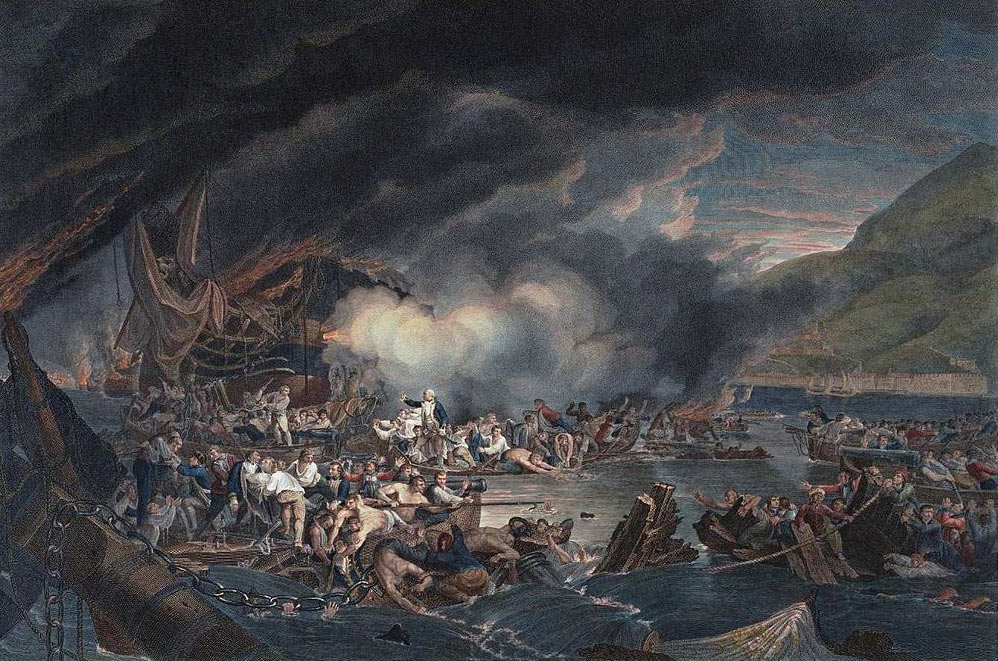 The destruction of the Battering Ships during the attack on Gibraltar, 13th September 1782: the Great Siege of Gibraltar from 1779 to 1783 during the American Revolutionary War