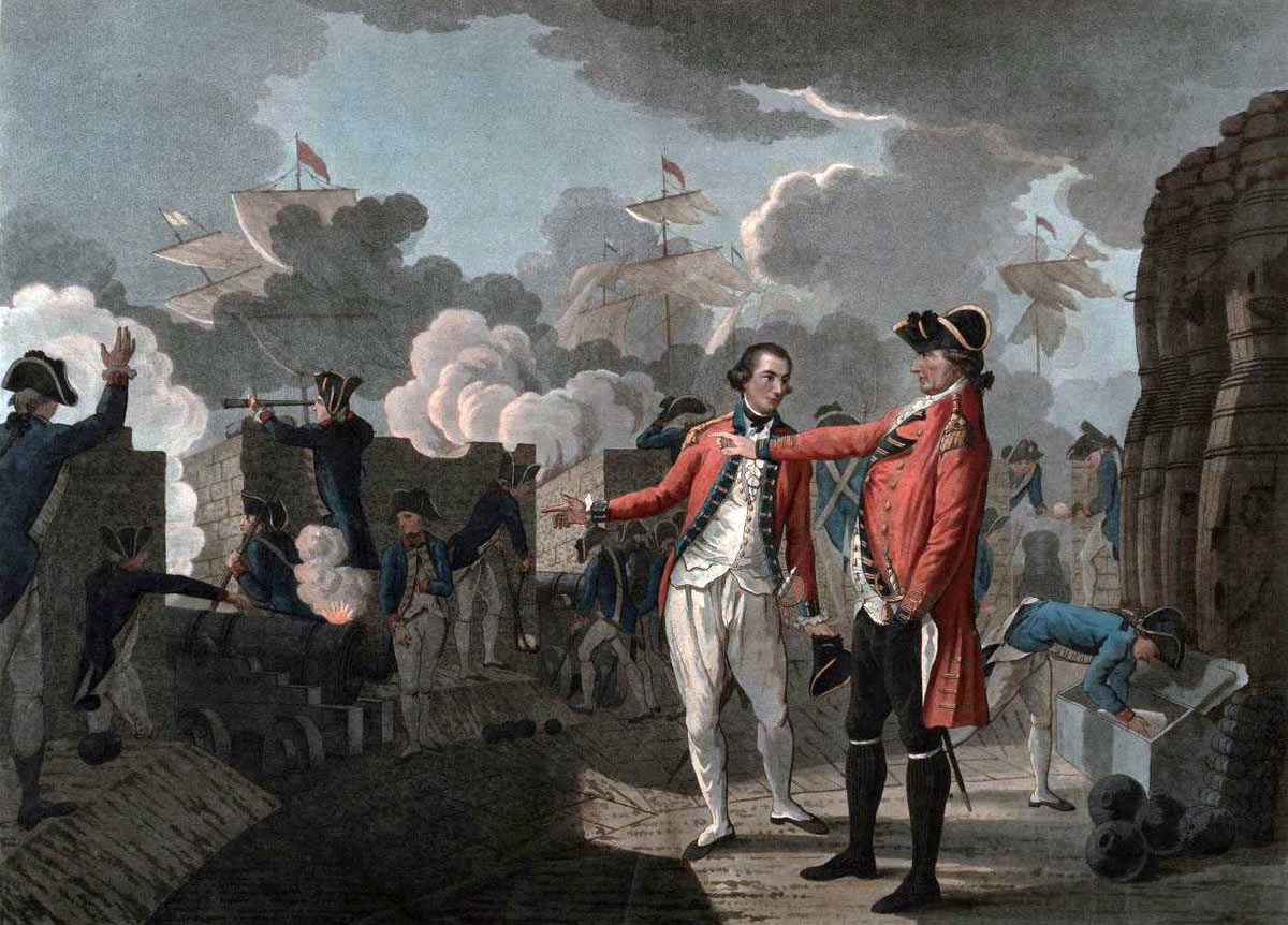 General Eliott with his adc Lieutenant G.F. Koehler in the King's Battery during the bombardment by the Spanish Battering Ships on 13th September 1782: the Great Siege of Gibraltar from 1779 to 1783 during the American Revolutionary War