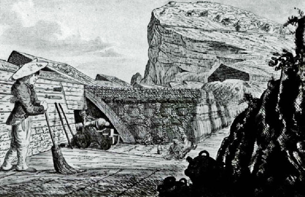 Inside Willis's Battery: the Great Siege of Gibraltar from 1779 to 1783 during the American Revolutionary War: the gun in the picture is on Koehler's 'depressing gun carriage' enabling it to fire down into the Spanish Siege Works