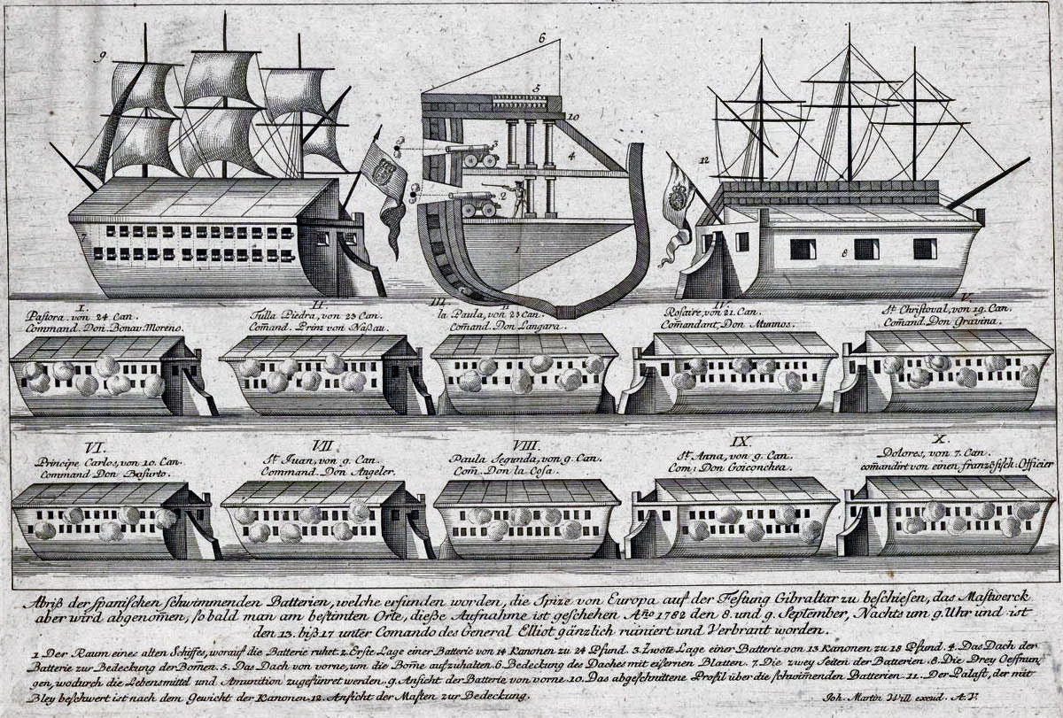 Chart giving details of the Ten Spanish Battering Ships that attacked Gibraltar on 13th September 1782: the Great Siege of Gibraltar from 1779 to 1783 during the American Revolutionary War: the chart is misleading in that the ships were different sizes and the guns were, in every ship, on the port side