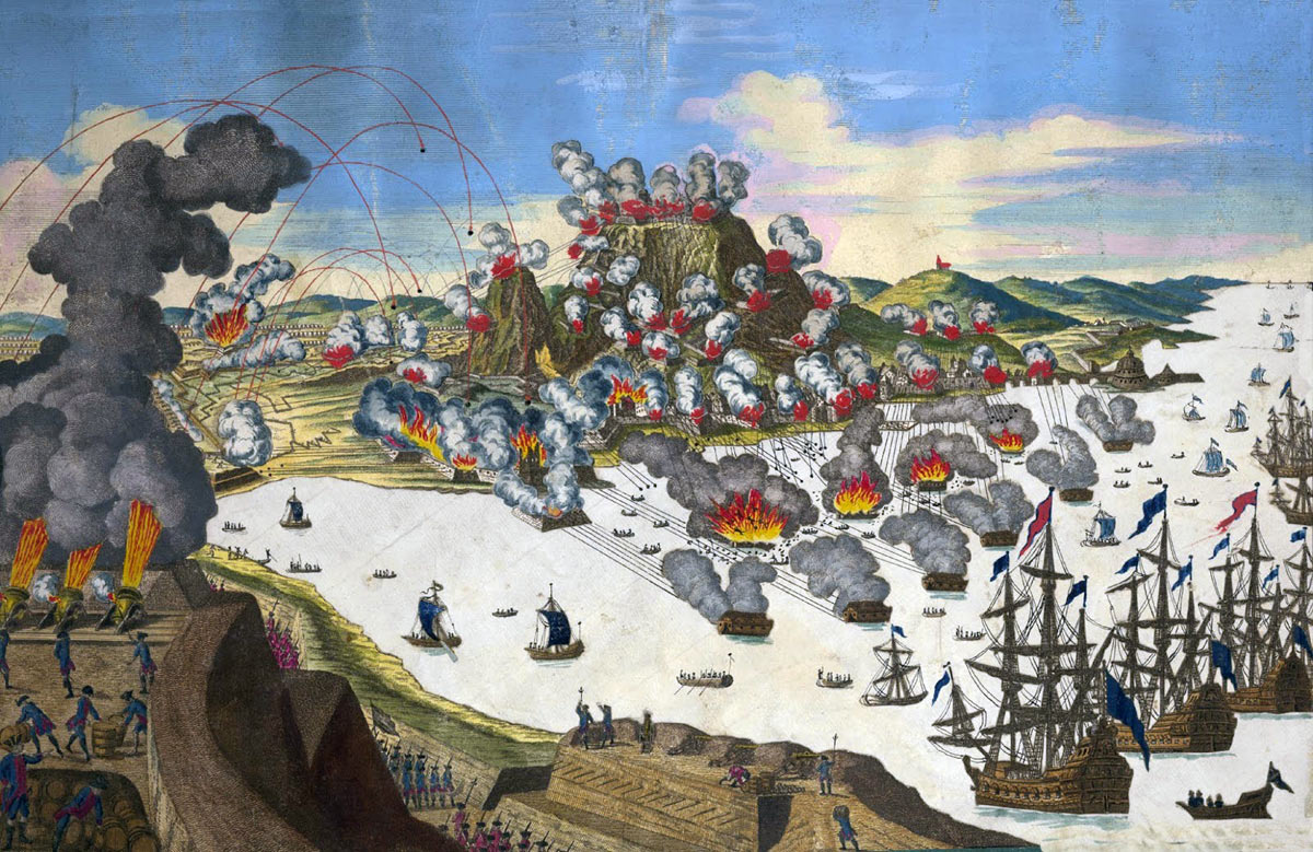 The Spanish attack on 13th September 1782 using the Battering Ships: the Great Siege of Gibraltar from 1779 to 1783 during the American Revolutionary War: picture by Georg Balthasar Probst: the ten Battering Ships can be seen exploding or smoking in the middle ground