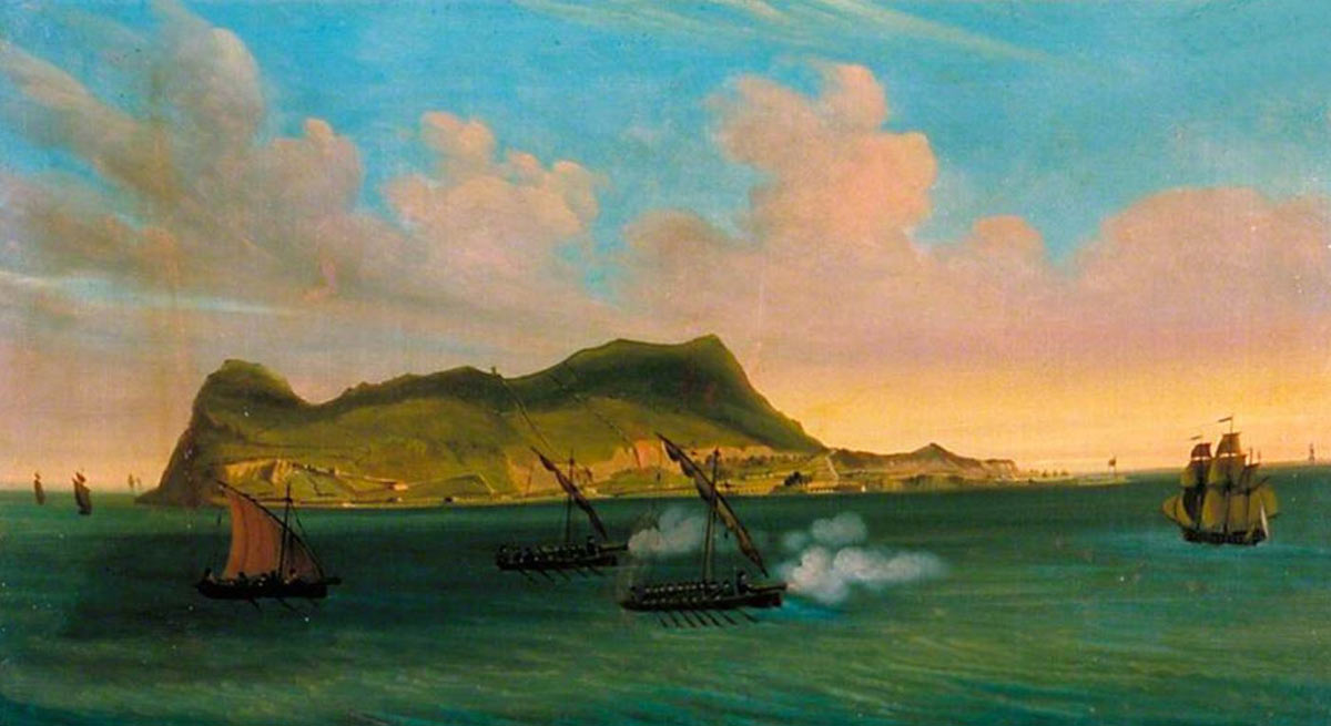 Spanish zebec vessels closing in on a blockade runner sailing into Gibraltar: the Great Siege of Gibraltar from 1779 to 1783 during the American Revolutionary War