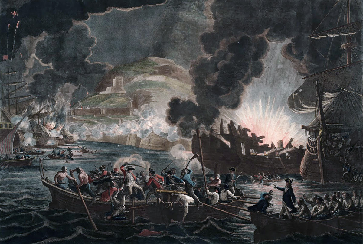 The fight around the sinking Spanish Battering Ships on 13th September 1782 : the Great Siege of Gibraltar from 1779 to 1783 during the American Revolutionary War: print by William Hamilton and Archibald Robertson
