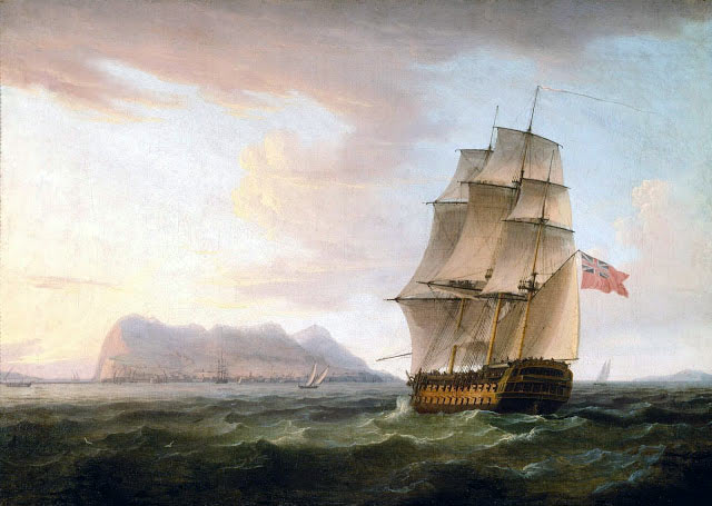 Man of War approaching Gibraltar: the Great Siege of Gibraltar from 1779 to 1783 during the American Revolutionary War: picture by Thomas Whitcombe
