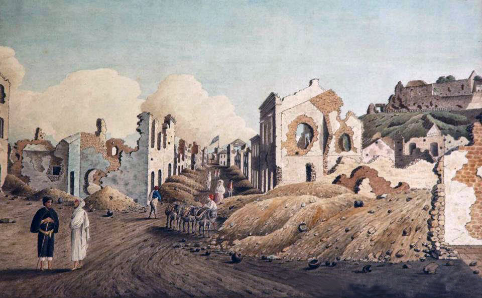 Gibraltar town badly damaged by the Spanish bombardment: the Great Siege of Gibraltar from 1779 to 1783 during the American Revolutionary War: picture by Captain Thomas Davis