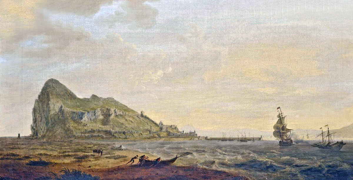 The Rock of Gibraltar seen from the north: the Great Siege of Gibraltar from 1779 to 1783 during the American Revolutionary War: picture by William Ashford