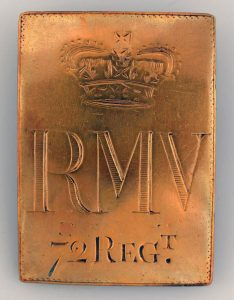 Cross Belt Plate of the 72nd Royal Manchester Volunteers: the Great Siege of Gibraltar from 1779 to 1783 during the American Revolutionary War: a regiment that only existed for 5 years but spent all that time serving in one of Britain's most dramatic military episodes