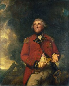 Lieutenant General George Augustus Eliott, governor of Gibraltar during the Great Siege 1779 to 1783: picture by Joshua Reynolds showing Eliott holding the keys to Gibraltar against a background of 'the Great Siege'